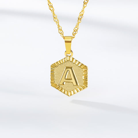 A-Z Hexagon Initial Pendant Necklace - Dazzled Jewels