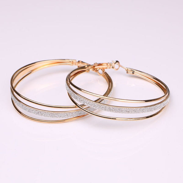 Gold Color Bling Hoops (60mm) - Dazzled Jewels Fashion Jewelry and Accessories