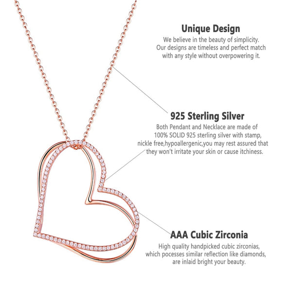Rose Gold Color Double Heart Pendant Necklace( 925 Sterling Silver Cable Chain and AAA CZ ) - Dazzled Jewels