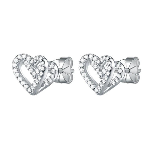 Sterling Silver and CZ Double heart Shape Studs - Dazzled Jewels Fashion Jewelry and Accessories