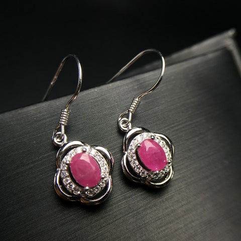 Sterling Silver and CZ Ruby Dangles - Dazzled Jewels Fashion Jewelry and Accessories