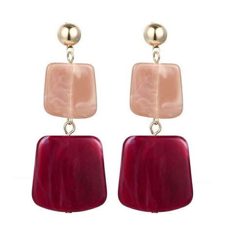 Big Square Acrylic Earrings - Dazzled Jewels
