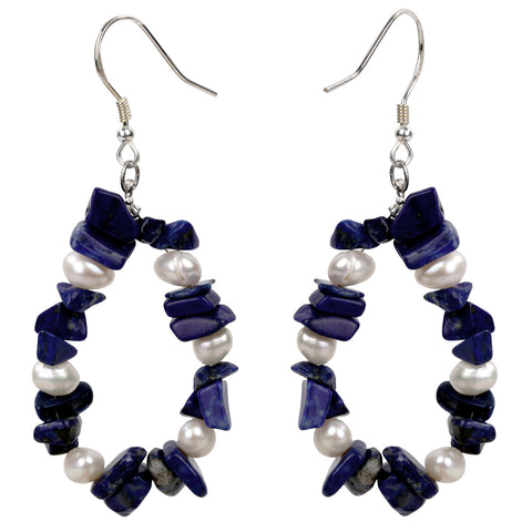 Handmade 925 Sterling Silver Lapis Lazuli & Pearl Drop Earrings - Dazzled Jewels
