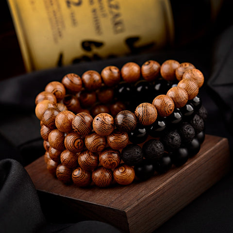 10mm Classic Wood Natural Matte Lava Stone Bracelet - Dazzled Jewels