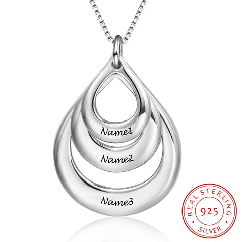 925 Sterling Silver Personalized 3 Name Pendant Necklace - Dazzled Jewels