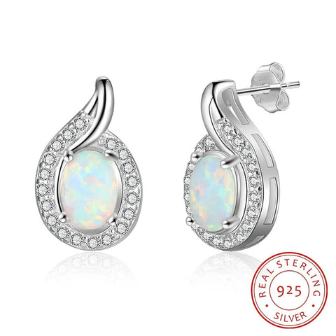 Classic Sterling Silver and CZ Opal Earrings - Dazzled Jewels Fashion Jewelry and Accessories