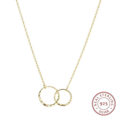 Dainty Sterling Silver Double Circle Necklace - Dazzled Jewels