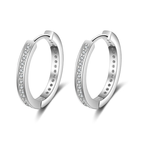 925 Sterling Silver And CZ Round Hoop Earrings - Dazzled Jewels Fashion Jewelry and Accessories