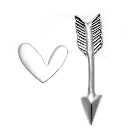 Sterling Silver Arrow Heart Stud Earrings - Dazzled Jewels Fashion Jewelry and Accessories