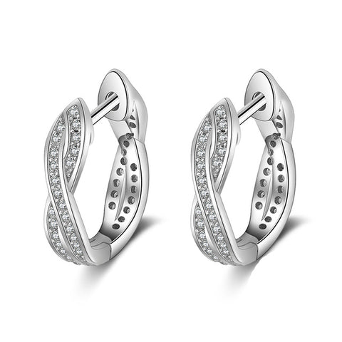 Classic 925 Sterling Silver and CZ Twisted Hoop Earrings - Dazzled Jewels Fashion Jewelry and Accessories