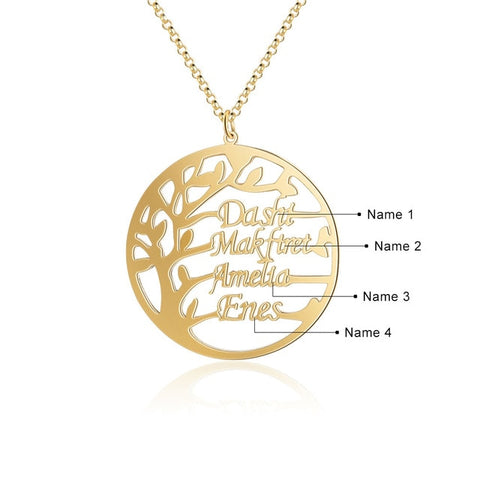 Customized Tree of Life Necklace (up to 4 Names) - Dazzled Jewels