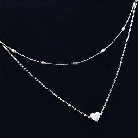 Simple Heart and Beads Multi Layer Necklace - Dazzled Jewels