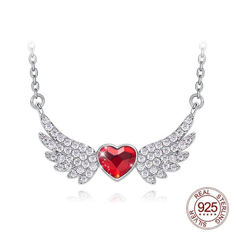 Sterling Silver Angel Wings Red Heart Charm Necklace with Crystals from Swarovski - Dazzled Jewels