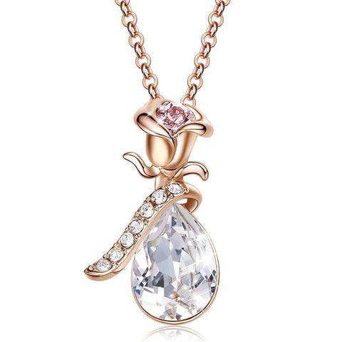 Rose Flower Water Drop Necklace with Crystals from Swarovski - Dazzled Jewels