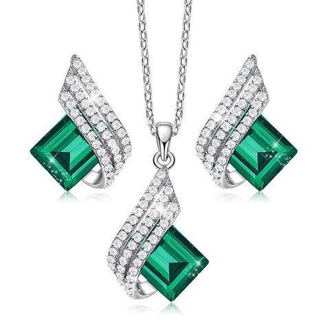 High Quality Sterling Silver & Zirconia Pendant Necklace & Earrings Set - Dazzled Jewels