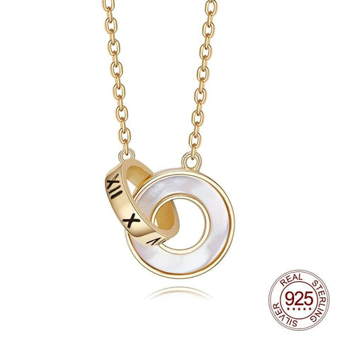 925 Sterling Silver Simple Roman Numeral Shell Double Circle Necklace - Dazzled Jewels