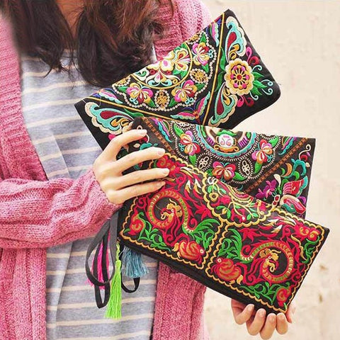 Ethnic Colorful Clutch with Tassel - Dazzled Jewels