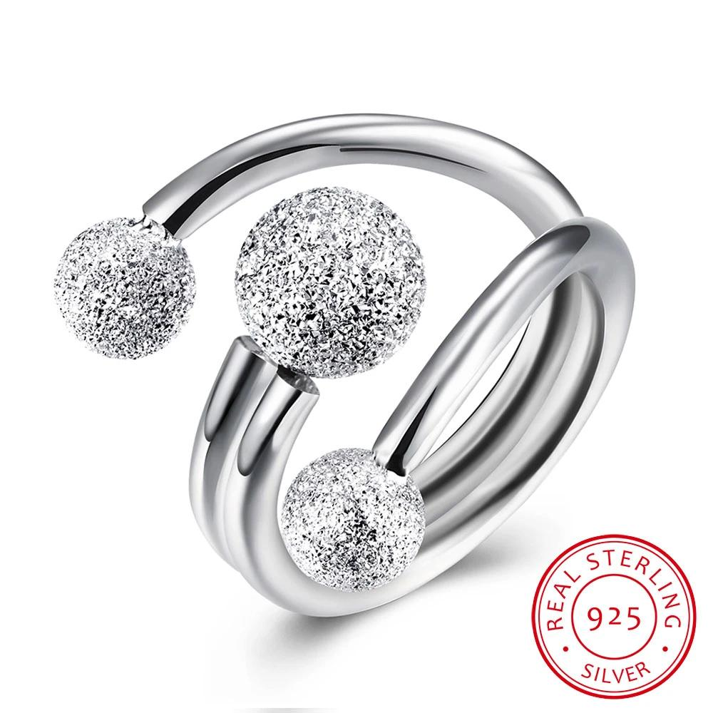 925 Sterling Silver Surround Ball Adjustable Ring - Dazzled Jewels