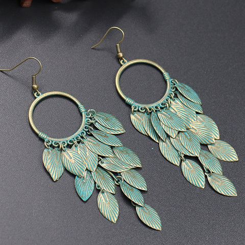 Antique Green Leaf Statement Earrings - Dazzled Jewels Fashion Jewelry and Accessories