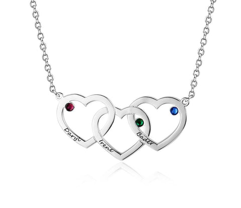 925 Sterling Silver Intertwined Hearts Necklace with Birthstone - Dazzled Jewels