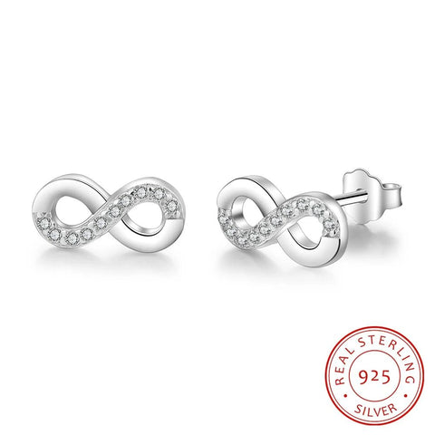 Sterling Silver Infinity Love Earrings With Cubic Zirconia - Dazzled Jewels Fashion Jewelry and Accessories