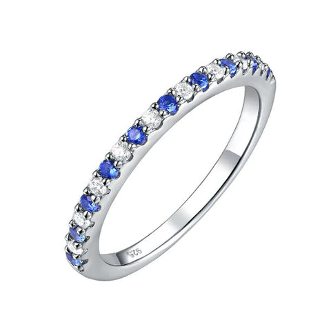 Stackable 925 Sterling Silver Blue And White AAA Zirconia Band - Dazzled Jewels