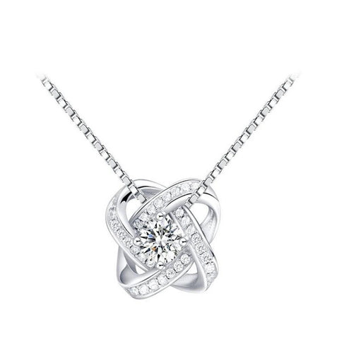 925 Sterling Silver and CZ Pendant and Earring Set - Dazzled Jewels