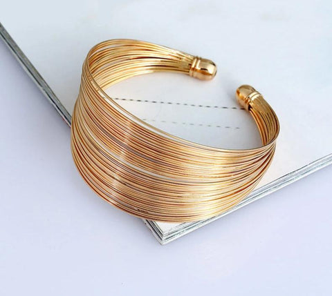 Multilayer Metal Wire Bangle - Dazzled Jewels