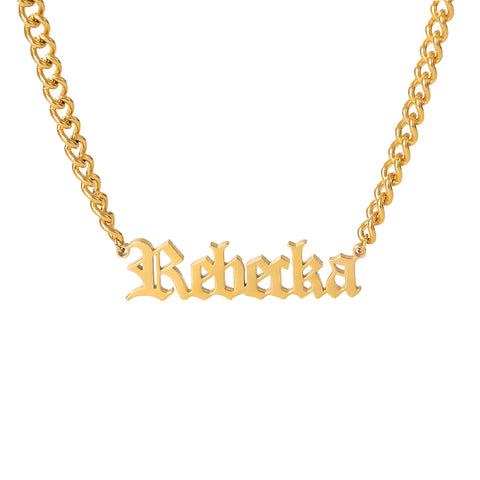Old English Custom Name Necklace - Dazzled Jewels