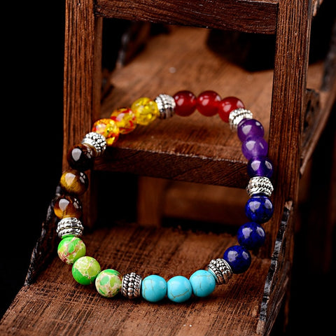 Chakra Bracelet with Vintage Silver Beads - Dazzled Jewels