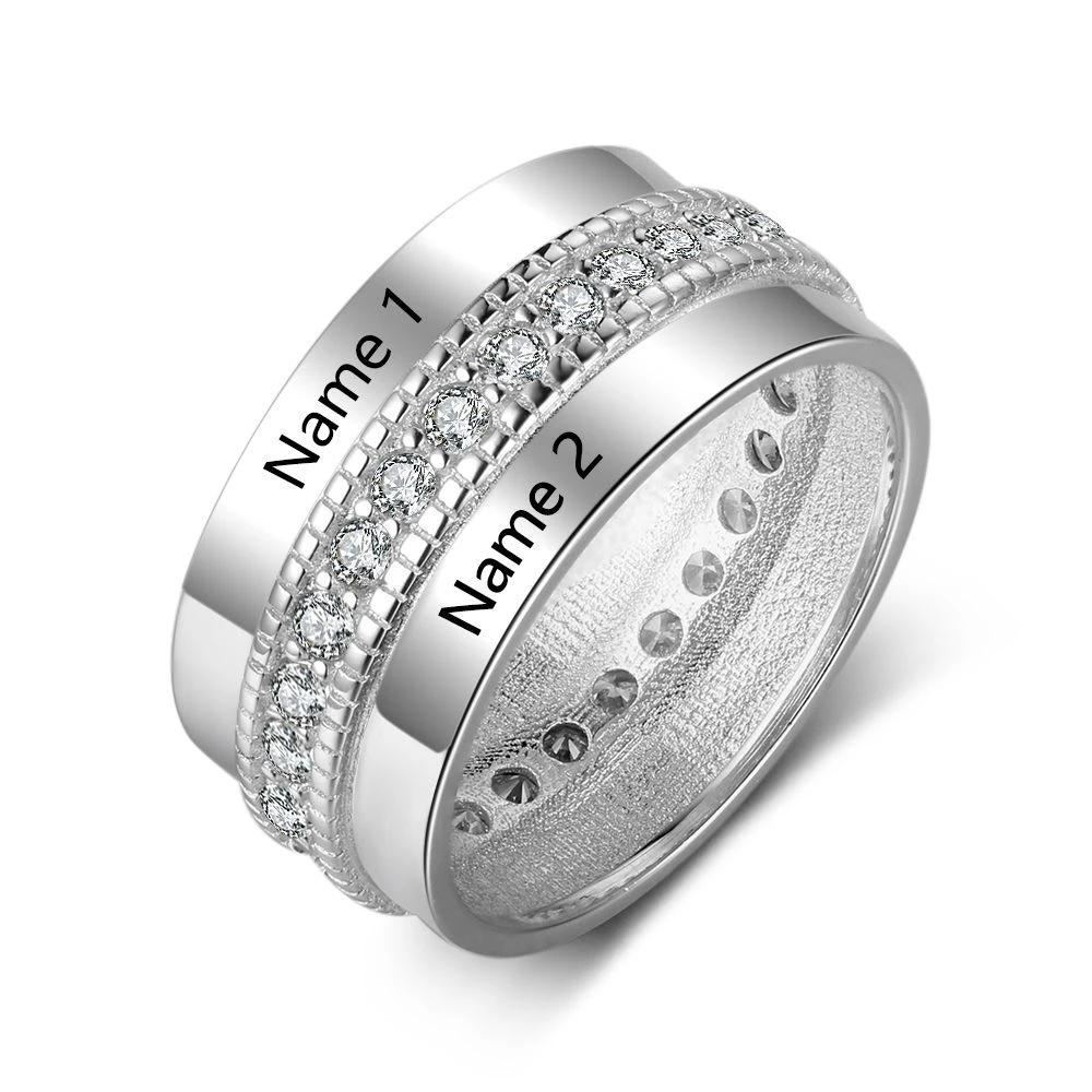 Personalized 2 Name Anniversary/Engagement Ring with Cubic Zirconia - Dazzled Jewels