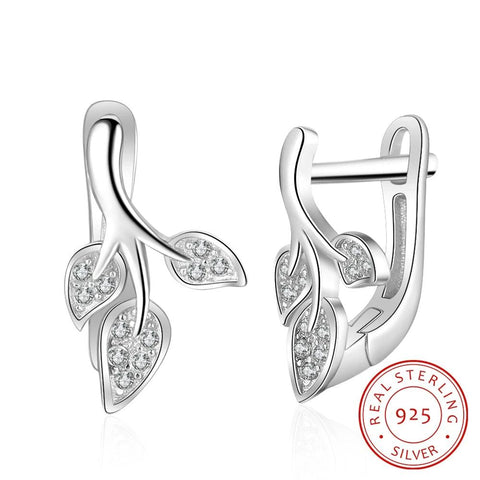 925 Sterling Silver and CZ Three Leaves Hoop Earrings - Dazzled Jewels Fashion Jewelry and Accessories