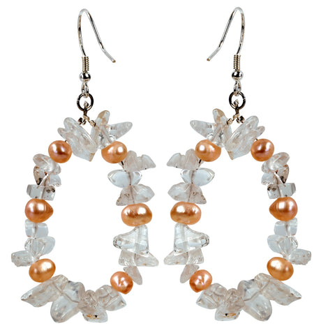 Handmade 925 Sterling Silver Natural Pearl and Clear Quartz Dangles - Dazzled Jewels Fashion Jewelry and Accessories