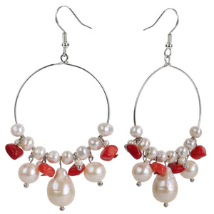 Handmade 925 Sterling Silver Freshwater Pearl & Red Coral Hoop Earrings - Dazzled Jewels Fashion Jewelry and Accessories