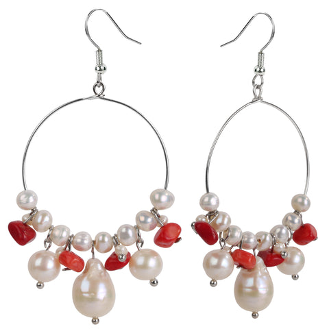 Handmade 925 Sterling Silver Freshwater Pearl & Red Coral Hoop Earrings - Dazzled Jewels