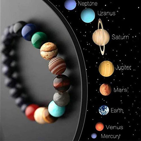 Solar System Themed Natural Stone Chakra Beaded Bracelet - Dazzled Jewels