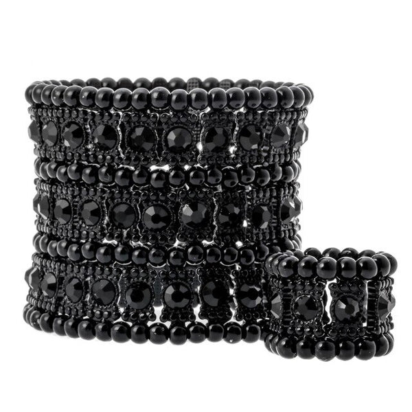Multilayer Beads and Crystal Stretch Cuff Bracelet & Ring set - Dazzled Jewels