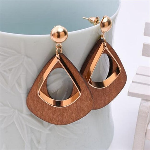 Wooden and Metal Statement Earrings - Dazzled Jewels