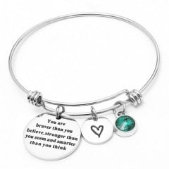 Inspirational Quotes Charm Bracelet with Birthstones - Dazzled Jewels