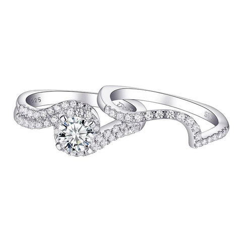 1.2Ct Round AAA CZ Solid 925 Sterling Silver Wedding/Engagement Ring Set - Dazzled Jewels