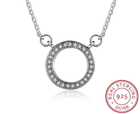 Vintage Style Sterling Silver Cubic Zirconia Paved Circle Necklace - Dazzled Jewels