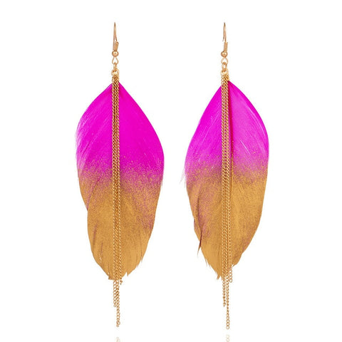 Long Feather Earrings with Metal Tassel - Dazzled Jewels