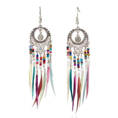 Lightweight Silver Ethnic Dangle Earrings with Colorful Feathers - Dazzled Jewels Fashion Jewelry and Accessories