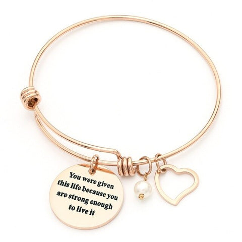 Stainless Steel Inspirational Quotes Heart Charm Bracelet - Dazzled Jewels