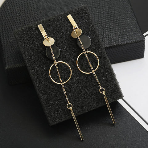 Long Circle and Chain Earrings - Dazzled Jewels