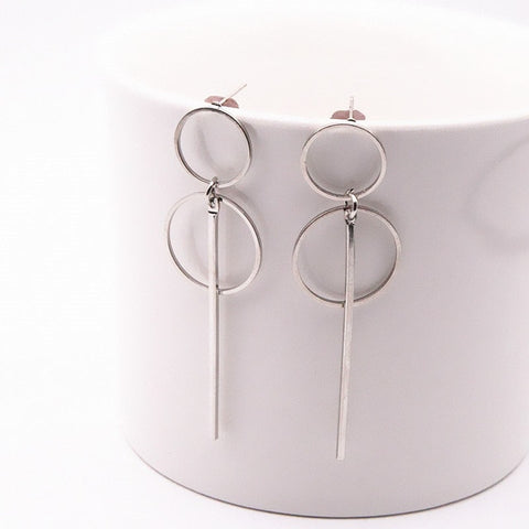 Double Circle And Bar Earrings - Dazzled Jewels