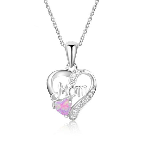 Sterling Silver Heart Shape Opal and CZ Mom Pendant Necklace - Dazzled Jewels