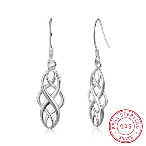 Sterling Silver Braided 21mm Dangle Drop Earrings - Dazzled Jewels Fashion Jewelry and Accessories