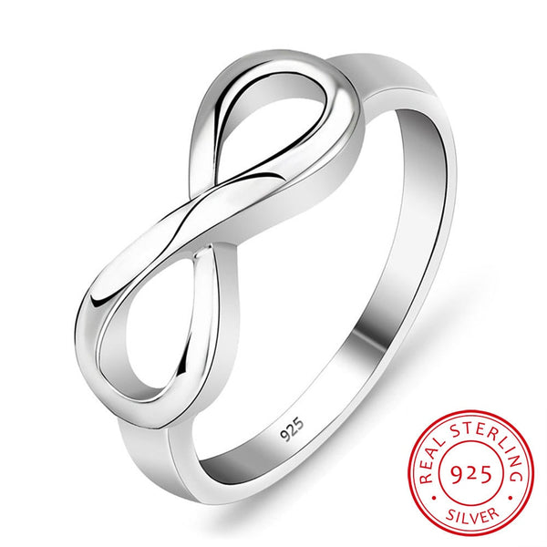 Dainty 925 Sterling Silver Infinity Ring - Dazzled Jewels