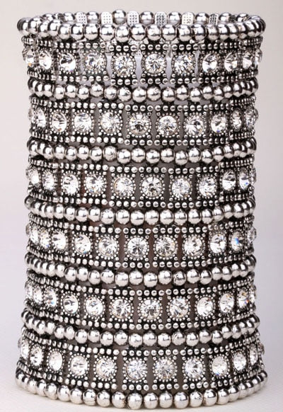 Multilayer Crystal Stretch Cuff Bracelet - Dazzled Jewels